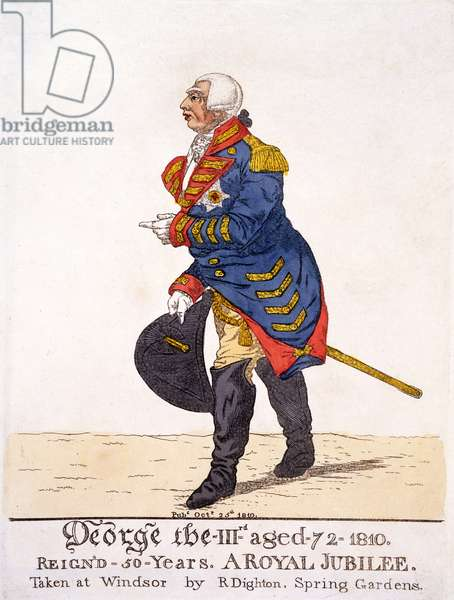 George III of Britain in 1810 on his Fifty Year Jubilee, print by R Dighton after his own drawing made at Windsor, pub. 25th October 1810 (colour lithograph)