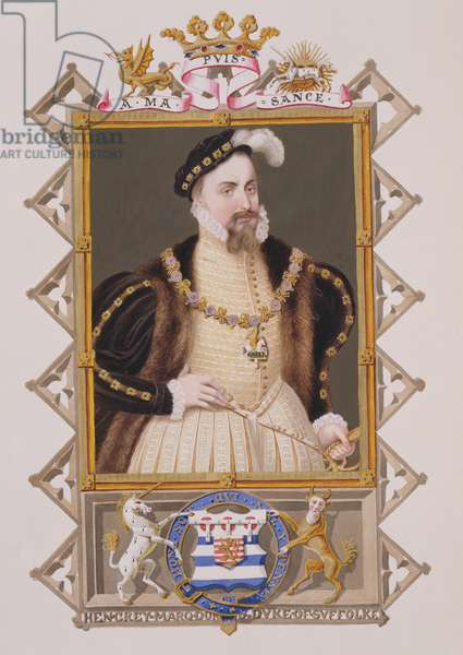 Portrait of Henry Grey (d.1554) Duke of Suffolk from 'Memoirs of the Court of Queen Elizabeth', published in 1825 (w/c and gouache on paper)