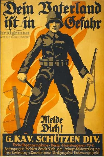 Dein Vaterland ist in Gefahr, melde dich!, pub. 1918 (colour litho)