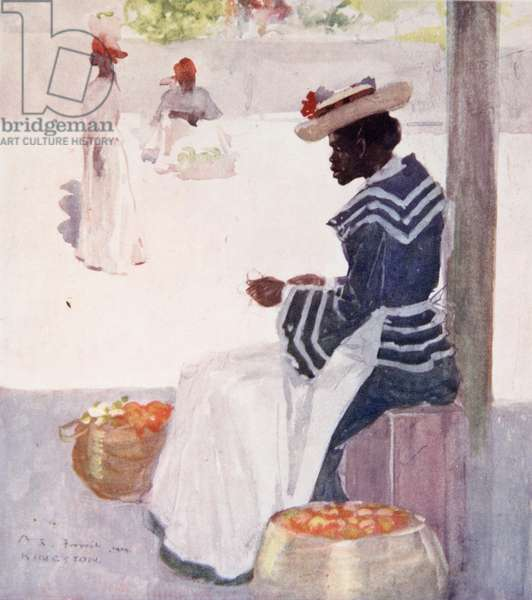 A Fruit Seller On A Side-Walk, Kingston, from a portfolio of privately printed watercolours of 'The West Indies' (colour litho)