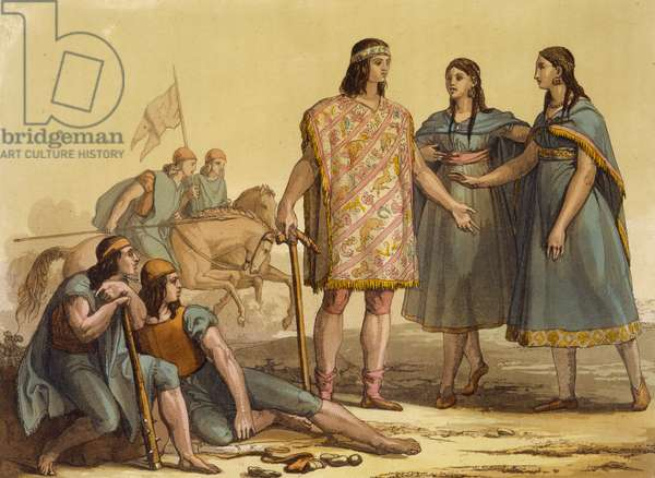 Natives of the Araucani tribe, Argentina, from 'Le Costume Ancien et Moderne', Volume II, plate 37, by Jules Ferrario, published c.1820s-30s (colour litho)