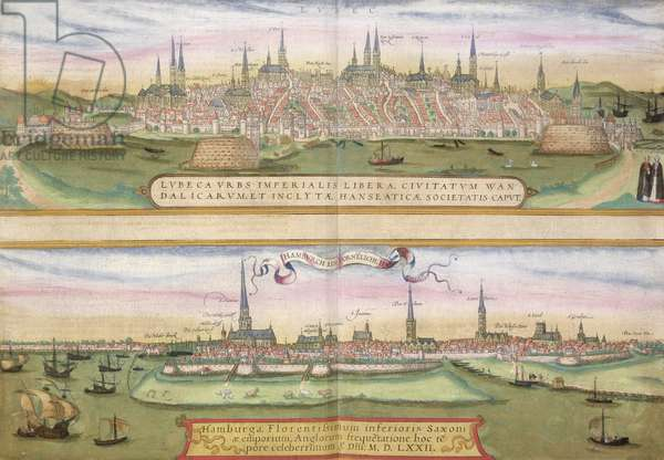 Map of Lubeck and Hamburg, from 'Civitates Orbis Terrarum' by Georg Braun (1541-1622) and Frans Hogenberg (1535-90), c.1572 (colour engraving)