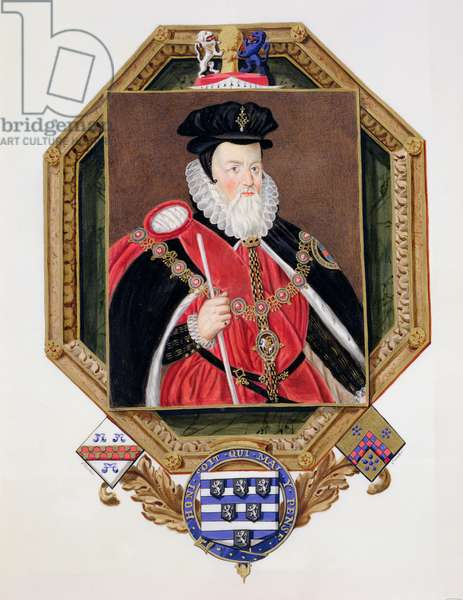 Portrait of William Cecil (1520-98) 1st Baron Burghley from 'Memoirs of the Court of Queen Elizabeth', after a picture by Marcus Gheeraerts the Younger (c.1561-1635) published in 1825 (w/c and gouache on paper)