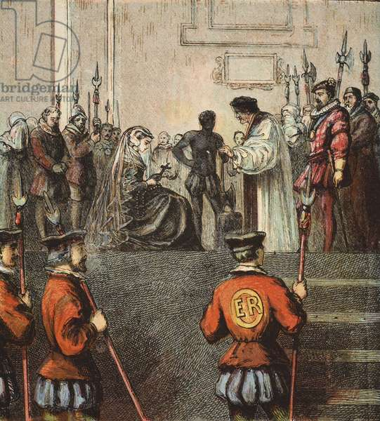 Execution of Mary, Queen of Scots, pub. 1890 (colour lithograph)