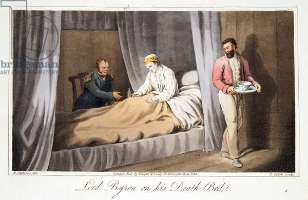 Lord Byron on his Death Bed, from The Last Days of Lord Byron by William Parry, pub. 1825 (hand coloured engraving)