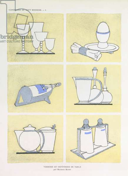 Glasses, cutlery and tableware, from 'Repertoire of Modern Taste', published 1920s (colour litho)