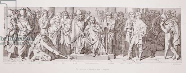 The coronation of Harold as King of England, from 'The Story of the Norman Conquest', engraved by L. Gruner, 1866 (litho)