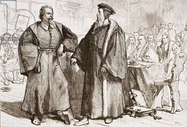Calvin and Servetus before the Council of Geneva, illustration from 'The History of Protestantism' by James Aitken Wylie (1808-1890), pub. 1878 (engraving)