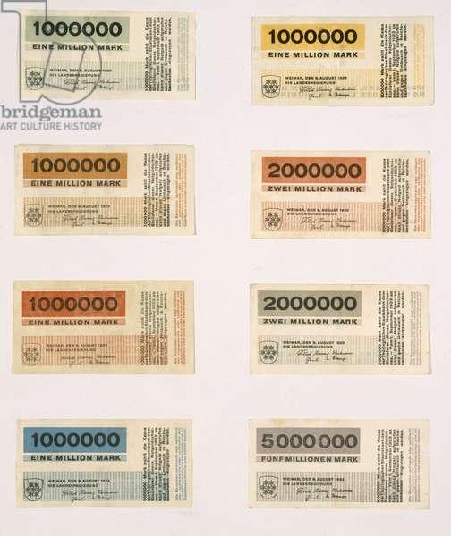 Inflationary banknotes of 'Thuringische Landesregierung', 1923 (colour litho)
