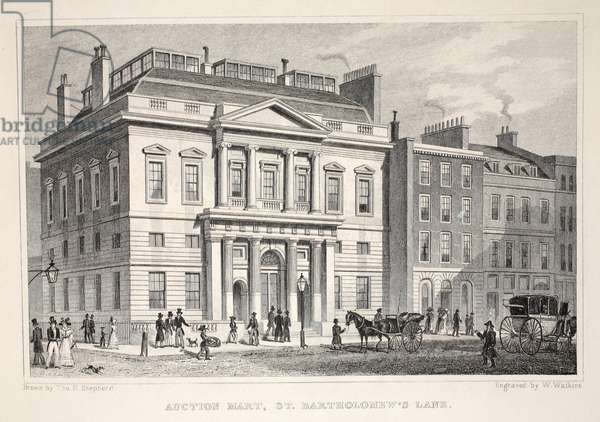 Auction Mart, St. Bartholomew's Lane, from 'London and it's Environs in the Nineteenth Century' pub. Jones & Co., 1827-1829 (engraving)