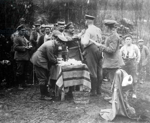 German soldiers being given vaccinations against Cholera, c.1915 (b/w photo)