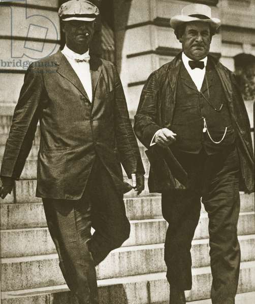 US Secretary of State William Jennings Bryan with bodyguard on the steps of the State Department, Washington D.C., 1913 (b/w photo)