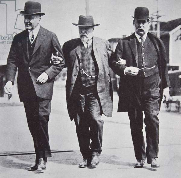 James J. Hill of the Great Northern and Pacific, Charles Steele of House of Morgan and George F. Baker of the First National Bank, 1900s (b/w photo)