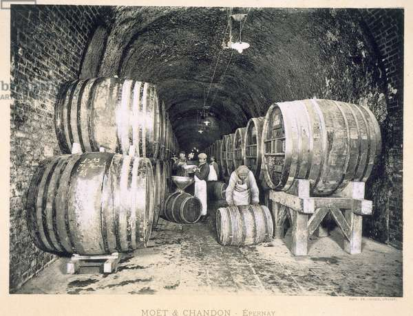 Pouring the wine into the barrels, from 'Le France Vinicole', pub. by Moet & Chandon, Epernay (photolitho)