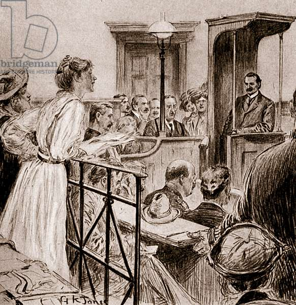 Miss Christabel Pankhurst questioning Mr Herbert Gladstone, 1909 (drawing)