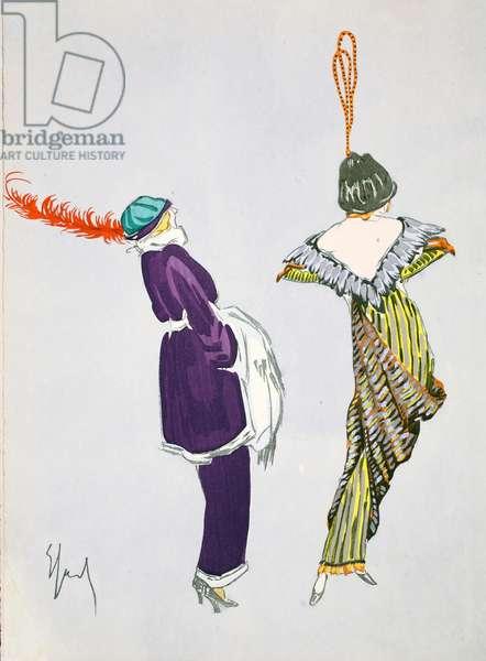 Design for day dress, 1912, plate 3, illustration from 'Robes et Femmes', pub. Dorbon-Ainé, Paris, 1913 (pochoir print)