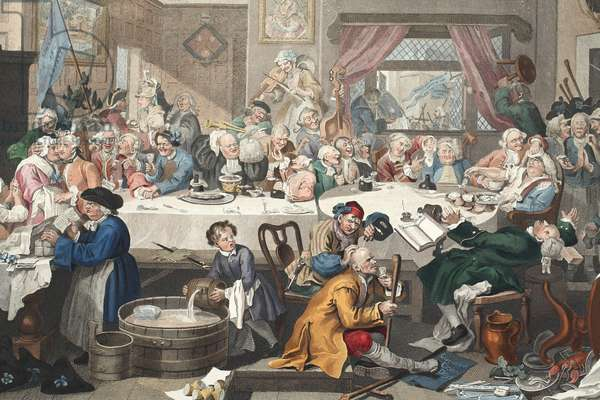 An Election Entertainment, illustration from 'Hogarth Restored: The Whole Works of the celebrated William Hogarth, re-engraved by Thomas Cook', pub. 1812 (hand-coloured engraving)