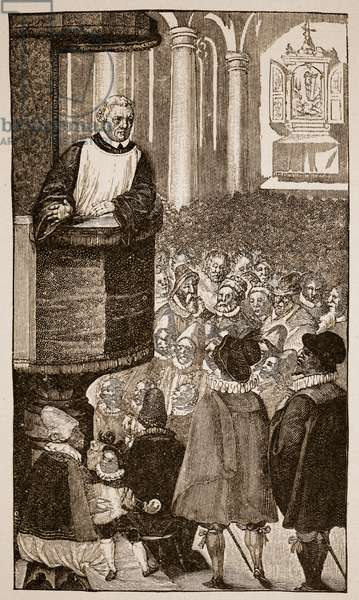 Martin Luther preaching, c.1517 (engraving)