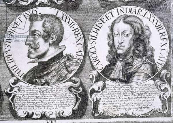 Portraits of Philip IV and Charles II (litho)
