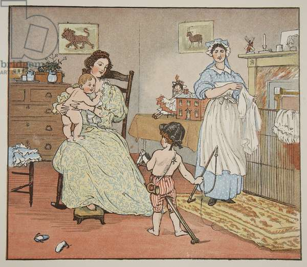 Bye, Baby Bunting, illustration from 'Hey Diddle Diddle and Bye, Baby Bunting', 1882 (coloured engraving)