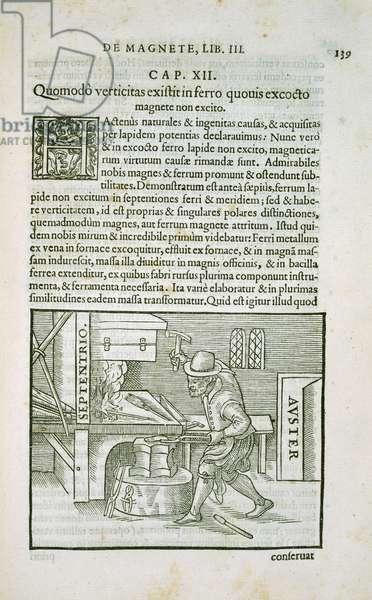 The Terrella experiments, page from Chapter 3 of De Magnete, Magneticisque Corporibus, et de Magno Magnete Tellure, pub. Petrus Short, London, 1600 (engraving)