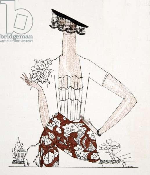 Dress Design, from Gazette de Bon Ton, pub.  1920 (pochoir print)