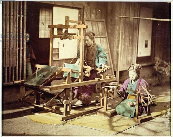 Japanese women weaving, c.1890 (hand-coloured photo)