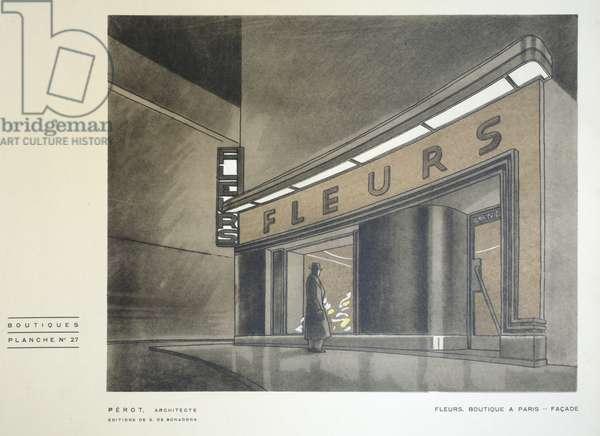 Fleurs, Perot, Boutiques, Henry Delacroix, Editions S De Bonadona, Paris, Late 1920s, Pochoir Print
