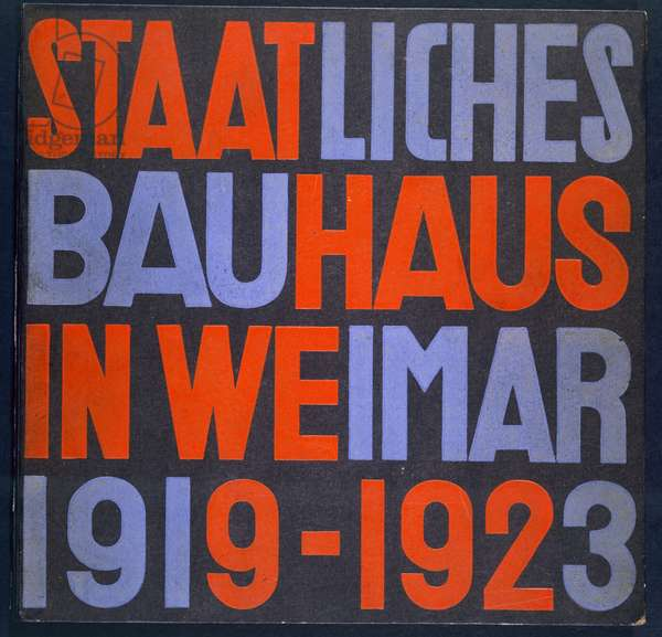 Cover for 'Staatliches Bauhaus in Weimar, 1919-23' by Walter Gropius et al, 1923 (colour litho)