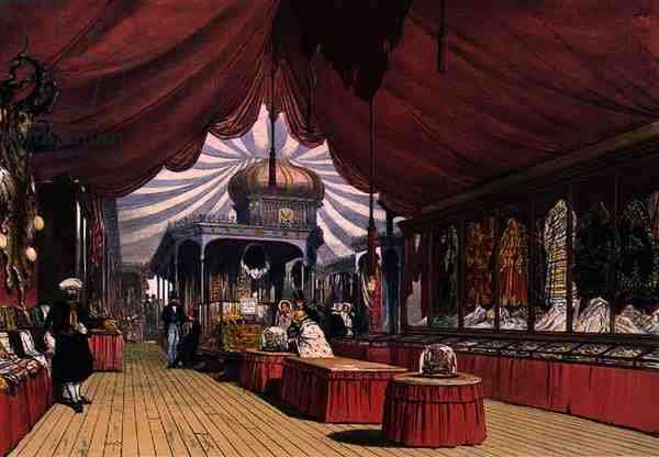 Cases of embroidered goods in the Turkish section of the Great Exhibition of 1851, from Dickinson's Comprehensive Pictures (colour litho)
