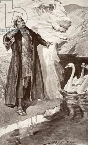 Ler and the Swans, illustration from 'Celtic Myth and Legend' by Charles Squire, 1905 (litho)