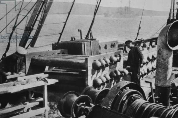 Gas cylinders for inflating aerial balloons, from 'The Illustrated War News' (b/w photo)