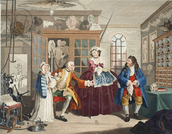 Marriage a la Mode, Plate III, The Inspection, illustration from 'Hogarth Restored: The Whole Works of the celebrated William Hogarth, re-engraved by Thomas Cook', pub. 1812 (hand-coloured engraving)