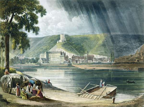 La Roche, from 'Views on the Seine', engraved by Thomas Sutherland (b.1785) published by R. Ackermann 1821 (colour litho)