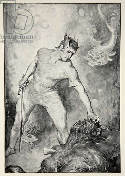 Beowulf shears off the head of Grendel, from 'Hero Myths and Legends of the British Race' by M.I. Ebbutt, 1910 (litho)