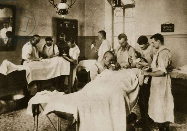 The operating-room in a German field hospital (sepia photo)
