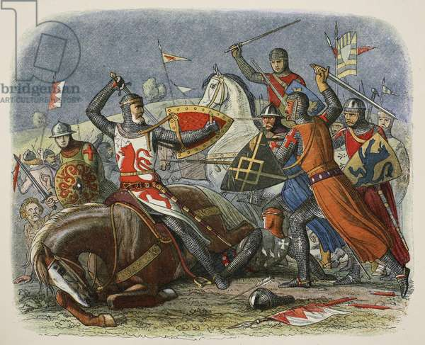 Death of De Montfort, 12 August 1265, from A Chronicle of England BC 55 to AD 1485, pub. London, 1863 (colour litho)