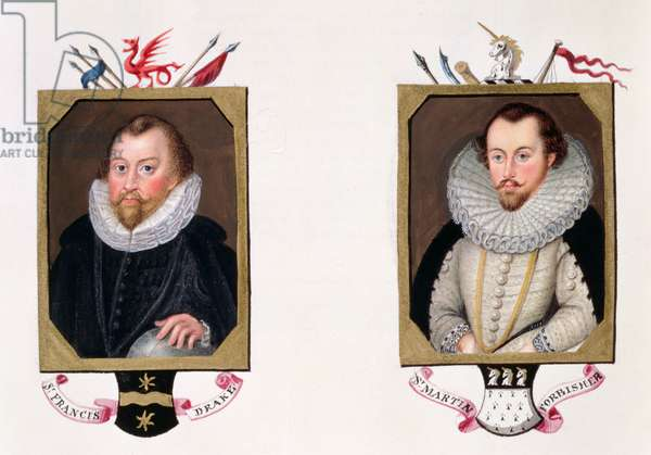 Double portrait of Sir Francis Drake (c.1540-96) and Sir Martin Frobisher (c.1535-94) from 'Memoirs of the Court of Queen Elizabeth, published in 1825 (w/c and gouache on paper)