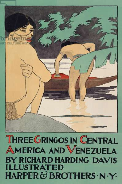 "Poster promoting ""Three Gringos in Central America and Venezuela"" by Richard Harding Davis (1864 - 1916), pub. 1896 (colour litho)"