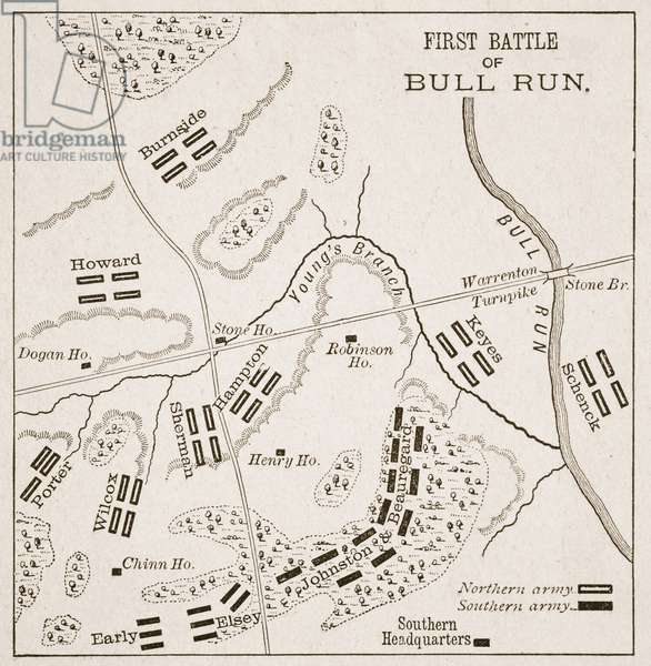 Position of the forces at noon, First Battle of the Bull Run, illustration from 'Battles of the Nineteenth Century' by Archibald Forbes, G.A. Henty and Major Arthur Griffiths (litho)