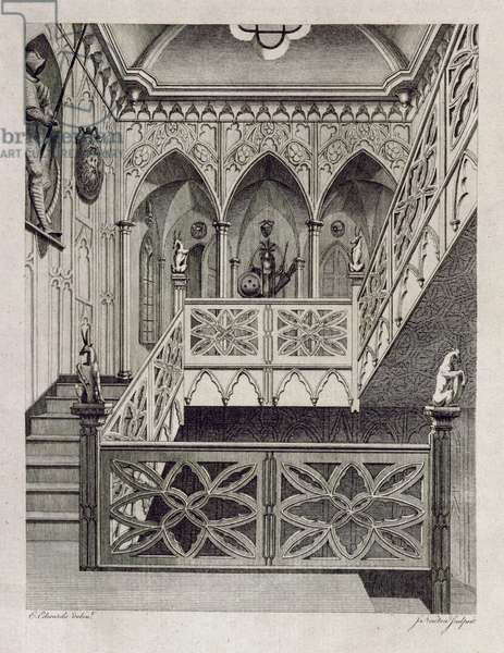 Staircase at Strawberry Hill, engraved by J. Newton, from 'Description of Strawberry Hill' by Horace Walpole, 1784 (engraving)