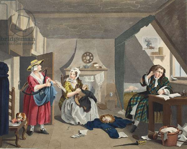 The Distressed Poet, illustration from 'Hogarth Restored: The Whole Works of the celebrated William Hogarth, re-engraved by Thomas Cook', pub. 1812 (hand-coloured engraving)