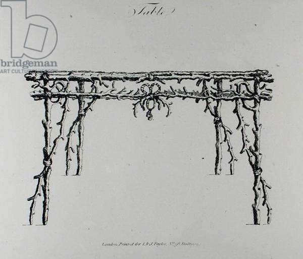 Table, from 'Grotesque Architecture, or Rural Amusement', by William Wrighte, published 1768 (engraving) (b/w photo)