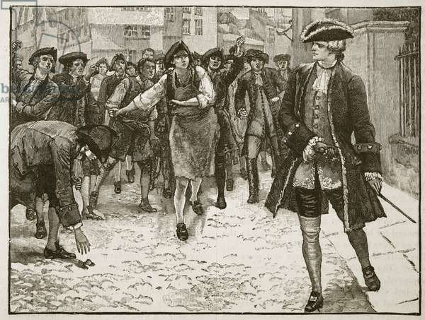 Lord Bute and the Londoners, 1763, illustration from 'Cassell's Illustrated History of England' (engraving) (sepia photo)