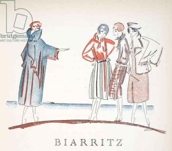 Biarrritz from Gazette de Bon Ton, pub. 1920 (pochoir print)