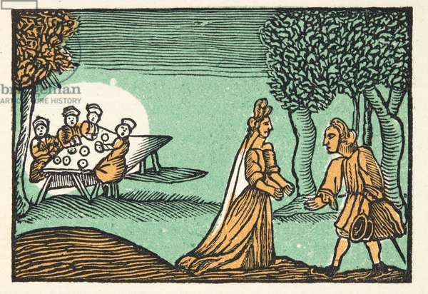 Riquet with the Tuft, from 'Histories or Tales of Past Times told by Mother Goose, With Morals', by M Perrault, pub. 1925 (hand coloured woodblock print)