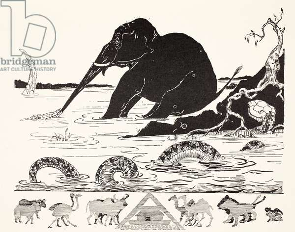 The Elephant's Child having his nose pulled by the Crocodile, illustration from 'Just So Stories for Little Children' by Rudyard Kipling, pub. London, 1951 (litho)