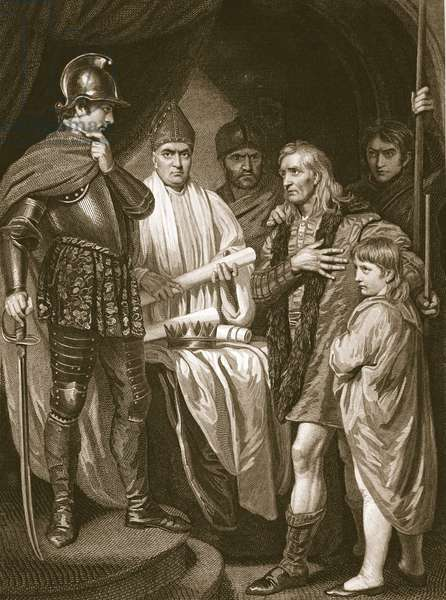 Baliol surrendering his crown to Edward I, engraved by J. Parker, illustration from David Hume's 'The History of England', pub. by R. Bowyer, London, 1812 (engraving)