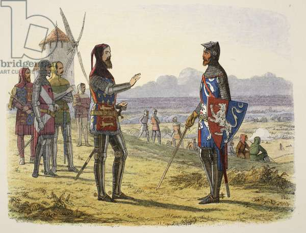 Edward refuses succour to his son at Crécy, from A Chronicle of England BC 55 to AD 1485, pub. London, 1863 (colour litho)
