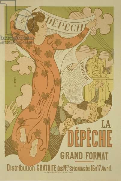 Reproduction of a poster advertising 'La Depeche de Toulouse' newspaper, 1892 (colour litho)